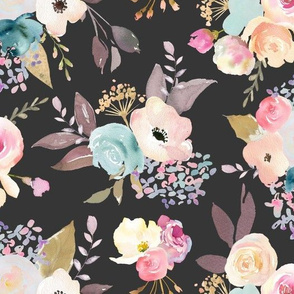 Dusty Pink and Blue Watercolor Floral // Dark Grey