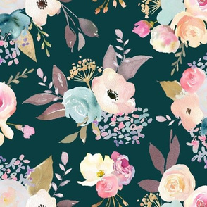 Dusty Pink and Blue Watercolor Floral // Dark Teal