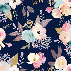 Dusty Pink and Blue Watercolor Floral // Navy