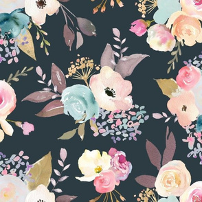 Dusty Pink and Blue Watercolor Floral // Slate