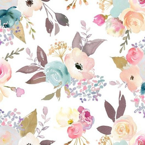 Dusty Pink and Blue Watercolor Floral