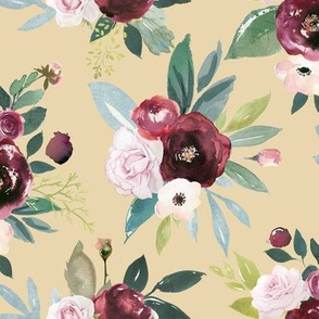 Burgandy and Pink Rose Floral // Biscuit