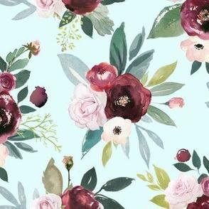 Burgandy and Pink Rose Floral // Lt. Mint