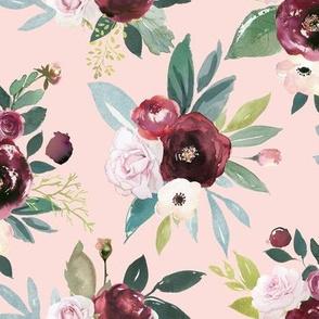 Burgandy and Pink Rose Floral // Lt. Peachy Pink