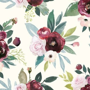 Burgandy and Pink Rose Floral // Cream