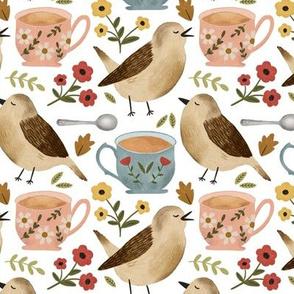 Birds, Teacups, and Flowers