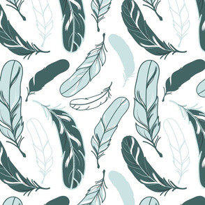 Large Feathers in Pine and Mint