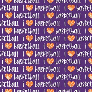 I love basketball - basketball heart - purple - LAD20