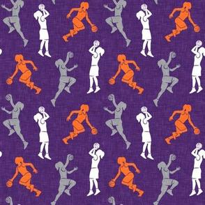 (small scale) women's basketball players - girls basketball - purple, orange, grey - LAD20