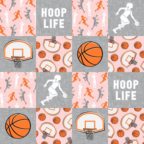 HOOP LIFE - women's/girl's basketball patchwork - wholecloth - pink - LAD20