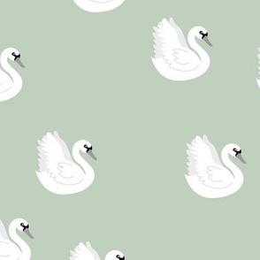 Romantic swan lake little nursery swans pond sage green