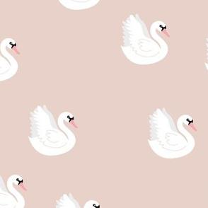 Romantic swan lake little nursery swans pond neutral beige sand