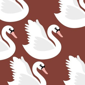 Romantic swan lake nursery swans pond neutral stone red
