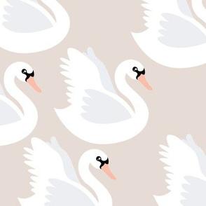 Romantic swan lake nursery swans pond girls pastel sand beige gray