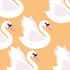 Romantic swan lake nursery swans pond girls pastel butterscotch yellow