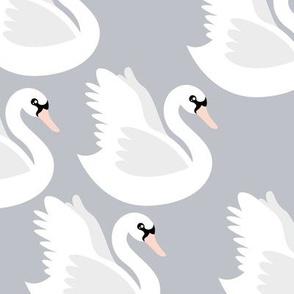 Romantic swan lake nursery swans pond girls pastel cool blue gray white
