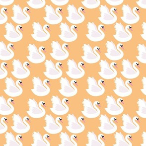 Romantic swan lake nursery swans pond girls pastel butterscotch yellow SMALL