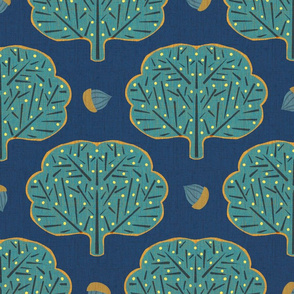 Stamped Trees and Acorns Blue