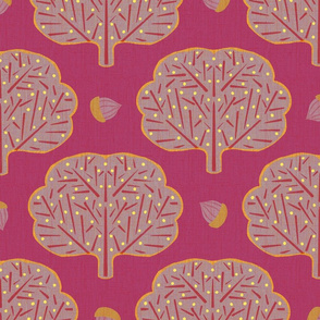 Stamped Trees and Acorns Pink