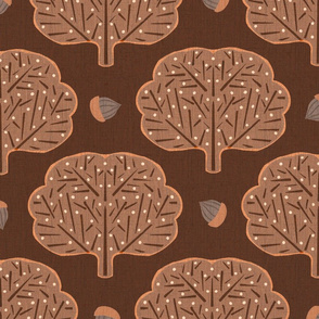Stamped Trees and Acorns brown
