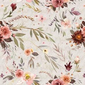 """8"""" Sienna's Bouquet - floral on beige - rust, russet"""