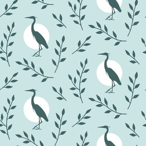 Heron with branches pattern - pine_mint design challenge