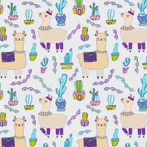 Llama and cactus pixel watercolor