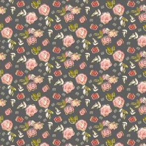 Sketched Floral Pink Grey