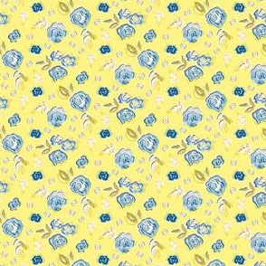 Sketched Floral Blue Yellow