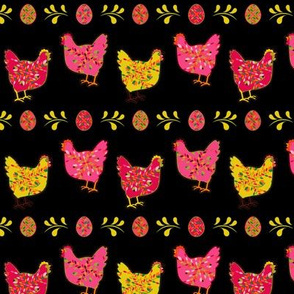 Folk Chicken Red Pink Yellow Black