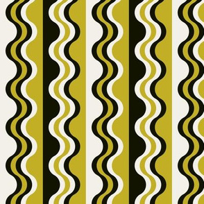 Sea Shell Waves in mustard yellow green and black