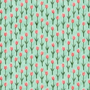 """(1"""" scale) Tulips - spring flowers - pink on aqua - C20BS"""