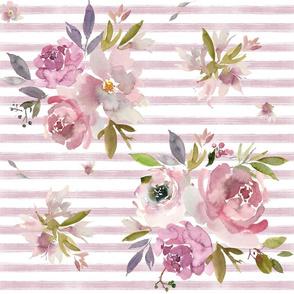 """18"""" Mauve Floral Stripe"""