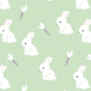Little bunny garden and carrots sweet spring easter theme baby kids design soft mint green gray white