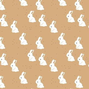 Little bunny garden and rabbits sweet spring easter theme baby kids design cinnamon latte brown neutral nursery