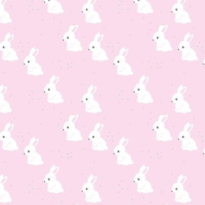 Little bunny garden and rabbits sweet spring easter theme baby kids design cinnamon soft pink girls baby nursery