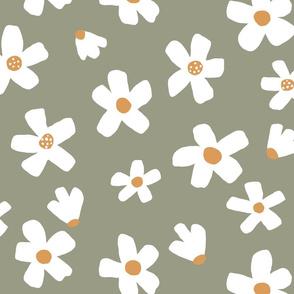 medium // Daisy garden Tea Green