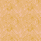 Tropical Palm Fronds in Blush Pink on Golden Yellow - Small