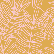 Tropical Palm Fronds in Bush Pink on Golden Yellow