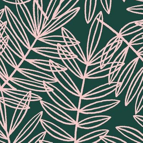 Tropical Palm Fronds in Blush Pink and Forest Green