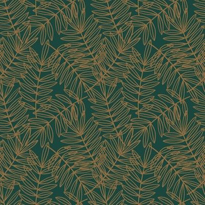 Tropical Palm Fronds in Forest Green and Ochre Brown - Small