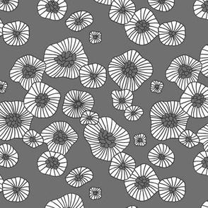 Summer boho blossom retro flowers Scandinavian vintage style florals illustration gray charcoal