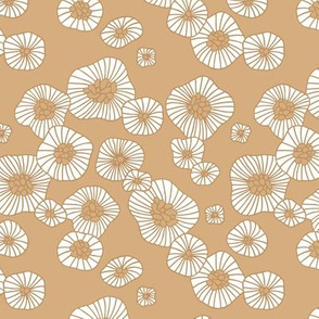 Summer boho blossom retro flowers Scandinavian vintage style florals illustration cinnamon honey neustral beige
