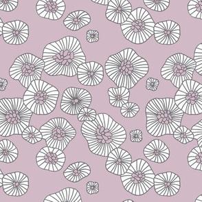 Summer boho blossom retro flowers Scandinavian vintage style florals illustration lilac purple gray