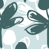 Pine&White Flowers on Mint Background