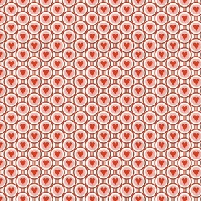 Queen of Hearts* (Tomato Soup) || valentine valentines day love link circles geometric polka dots art deco pastel living coral