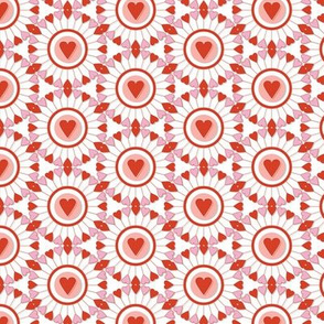 A Fair of the Heart* (Tomato Soup) || hearts valentine valentines day wheel geometric mandala love living coral pastel