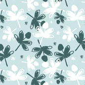 Pine & White Flowers on Mint Background