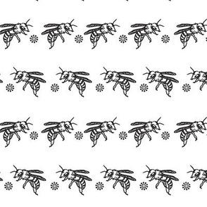Bee Stripe-Black On White