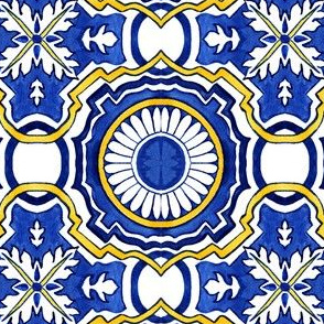 Azulejos Tlie Floral Circles Indigo